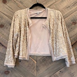 Dusty Light Pink Bolo with Matte Gold Sequins L